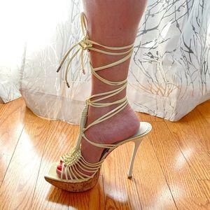 GianMarco Lorenzi yellow platform ankle wrap heels
